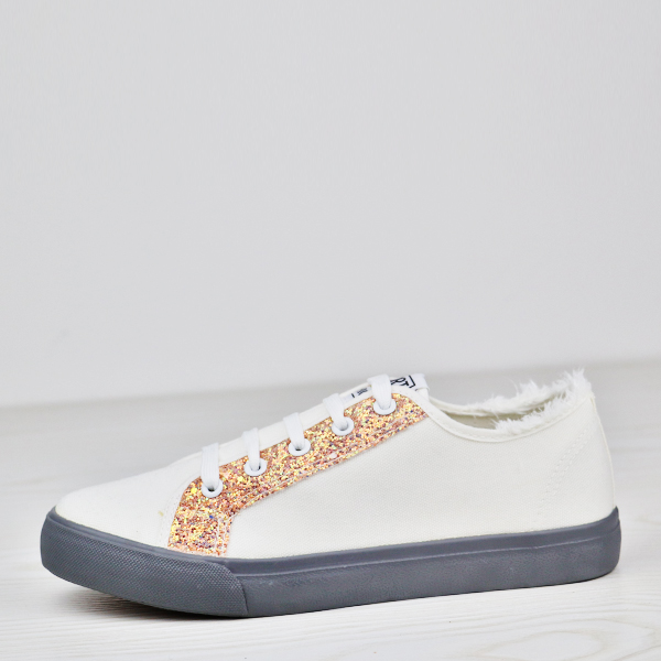 Glittered Lace Up Flat Wear Canvas Sneakers - Apricot