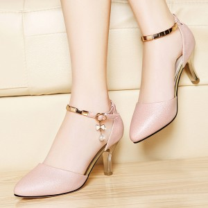 Glittered Pearl Decorative Shiny Party Sandals - Pink