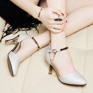 Glittered Pearl Decorative Shiny Party Sandals - White