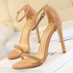 Hollow Rubber Party Wear High Heel Buckle Sandals - Khaki
