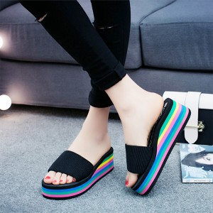 Colorful Stripes Thick Bottom Canvas Slippers - Black