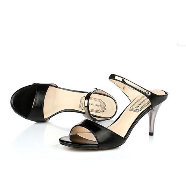 Summer Sandals Women Open Toe Strappy Metallic Sandals Black