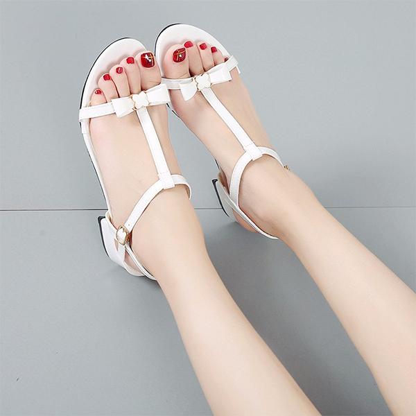 Bow Strap Elegant Wear Party Sandals - White