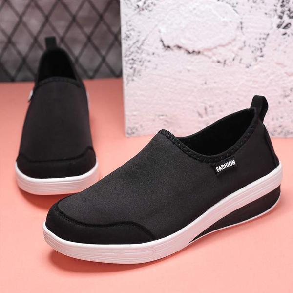 Mesh Canvas Flat Wear Sports Shoes - Black