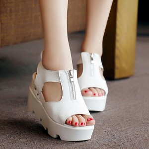 Cool Summer Leather White Sandals With Zipper