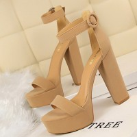 High Heel Thick Bottom Designers Wear Sandals - Khaki