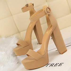 High Heel Thick Bottom Designers Wear Sandals - Khaki