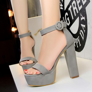 High Heel Thick Bottom Designers Wear Sandals - Gray