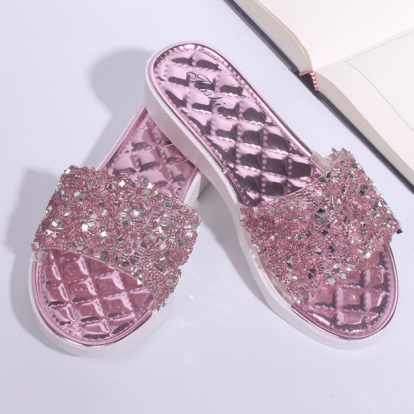 Crushed Texture Crystal Soft Sole Party Sandals - Pink