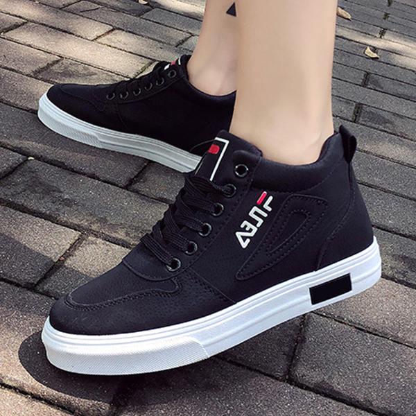 Lace Up Flat Bottom Casual Sports Sneakers - Black