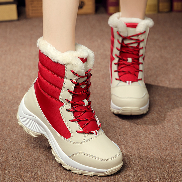Non Slip Laced Up Winter Wear Laced Boots - Beige