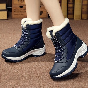 Furry Water Resistant Thick Bottom Boots - Blue