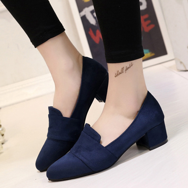 Pointed Velvet Canvas Formal Party Wear Shoes - Blue