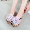 Canvas Flower Patched Flat Casual Sandals - White