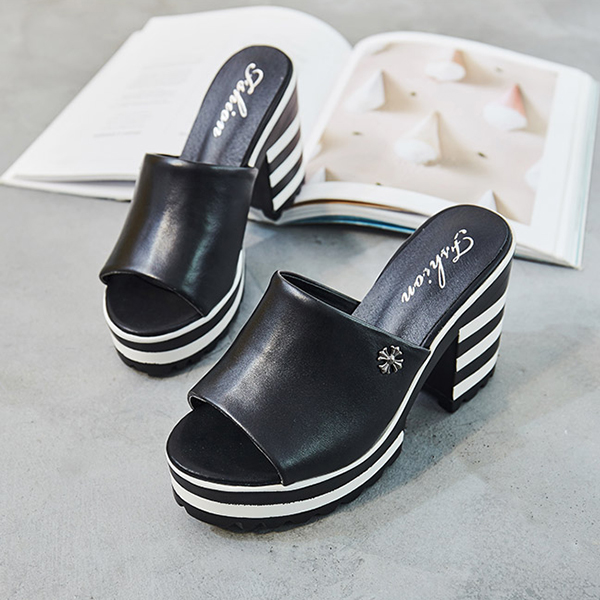 Striped Synthetic Leather Platform Sandals - Black