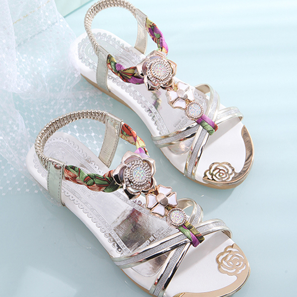 Rhinestone Decorated Strappy Flat Party Sandals