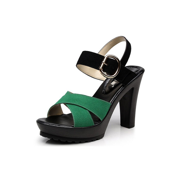 Leisure Rome Buckle Women Ankle Strap Sandal Green
