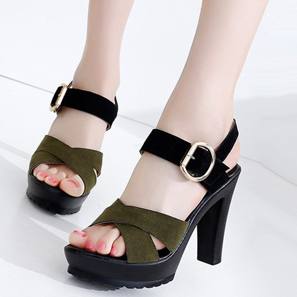 Leisure Rome Buckle Women Ankle Strap Sandal Khaki