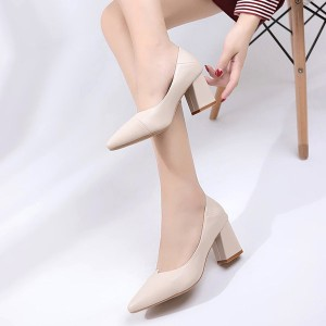 Pointed High Heel PU Leather Formal Shoes - Beige