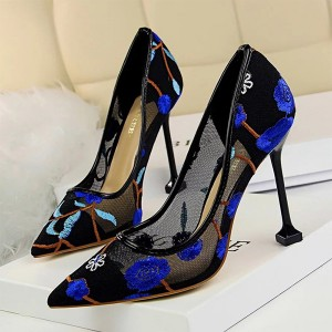 Thread Floral Art Pencil Heel Party Wear Shoes - Blue