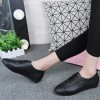 Laced Up Flat Wear PU Leather Shoes - Black