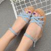 Rubber Foam Sole High Heel Wedges Thick Bottom Sandals Light Blue