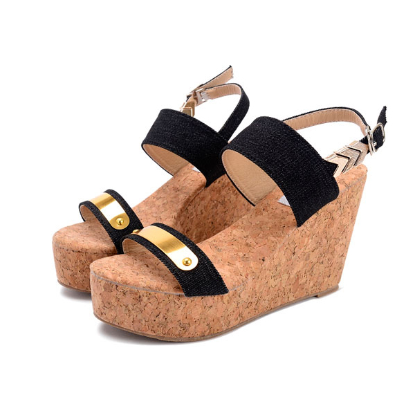 High Heel Wedges Thick Bottom Muffins Woven Sandals Black