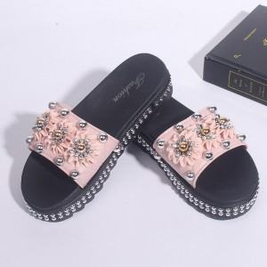 Pearl Decorative Floral Thick Bottom Flat Wear Female Sandal - Pink