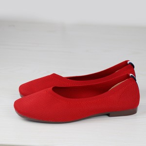 Comfortable Shallow Mouth Flat Formal Shoes - Red