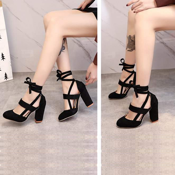 Suede Thick Bottom Laced Belt Sandals - Black