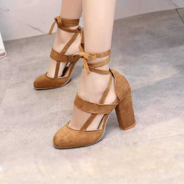 Suede Thick Bottom Laced Belt Sandals - Brown