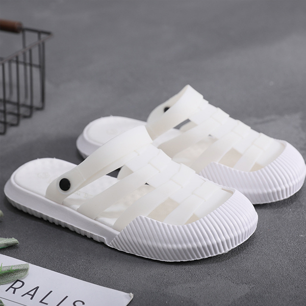 Hollow Strap Casual Wear Summer Slippers - White