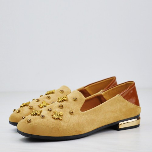 Bug Patch Designers Wear Suede Material Shoes - Khaki