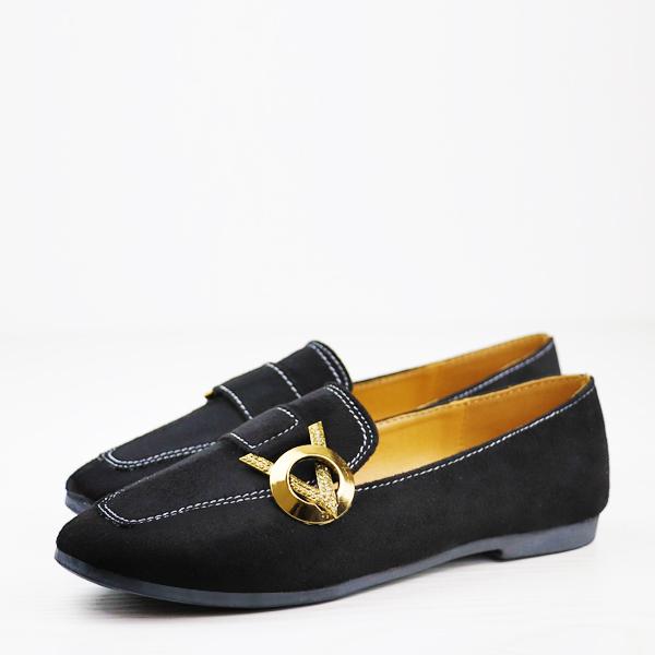 Velvet Flat Wear Exclusive Designers Shoes - Black