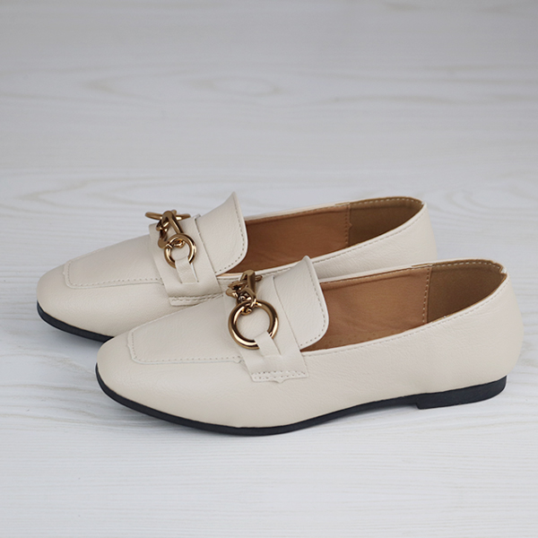 Formal Office Wear Flat Bottom Shoes - White