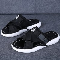 Canvas Strapped Flat Sports Wear Slippers - Black
