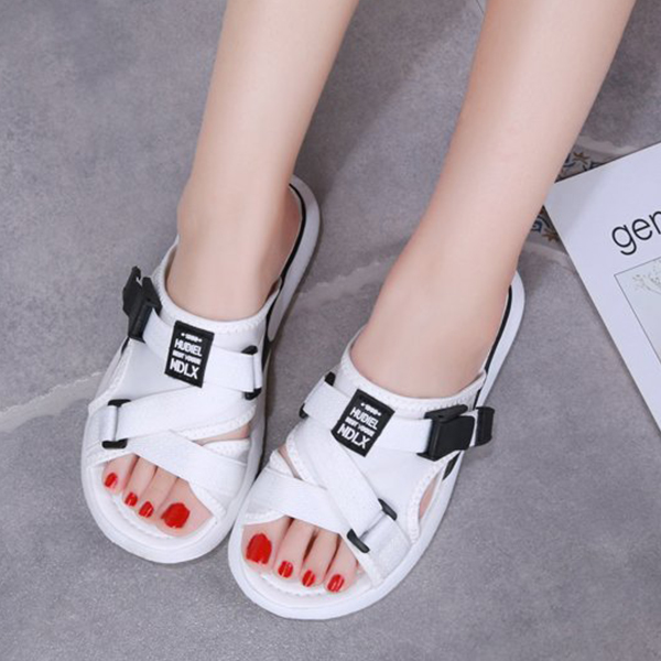 Canvas Strapped Flat Sports Wear Slippers - White