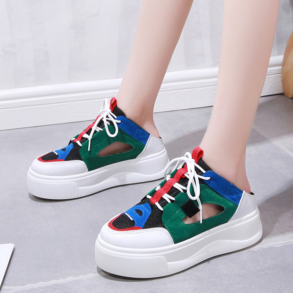 Hollow Multicolor Thick Sole Sports Sneakers - Green