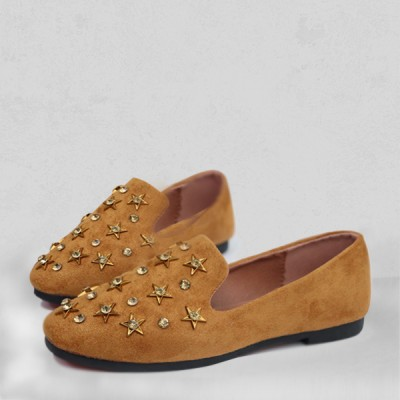 Stars Decorated Exclusive Yellow Flat Shoes