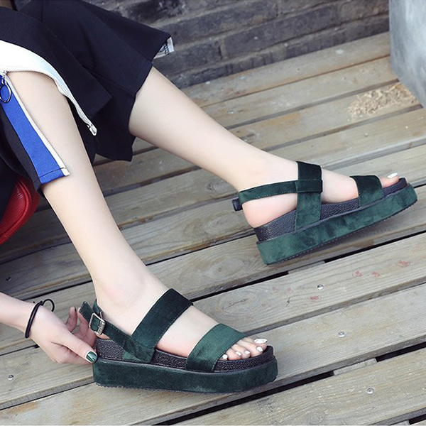 Buckle Closure Suede Designers Sandals - Army Green