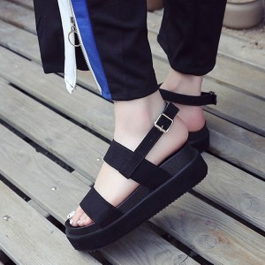 Buckle Closure Suede Designers Sandals - Black