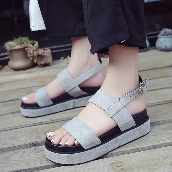 Buckle Closure Suede Designers Sandals - Grey
