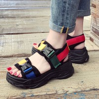Multicolor Buckle Strapped Thick Bottom Sandals - Black