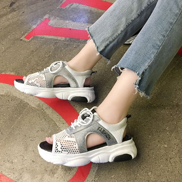 Hollow Lace Summer Wear Casual Sandals - White