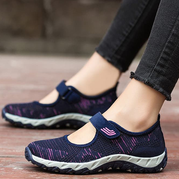Textured Loop Closure Sports Shoes - Blue