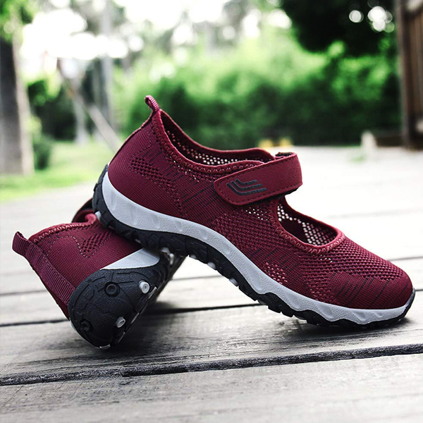 Textured Loop Closure Sports Shoes - Burgundy