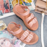 Buckle Patched Plastic Flat Summer Wear Sandals - Pink