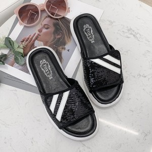 Sequins Art Flat Female Wear Summer Slippers - Black