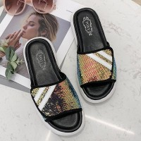 Sequins Art Flat Female Wear Summer Slippers - Golden