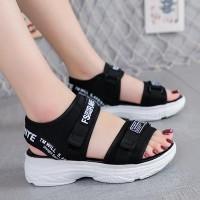 Velcro Closure Thick Bottom Women Slipper Sandal - Black